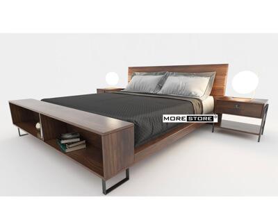 Ảnh của Giường ngủ gỗ veneer đuôi giường kết hợp kệ decor