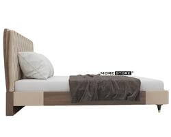 Picture of Giường gỗ bọc da thân giường gỗ veneer óc chó (kèm tap)