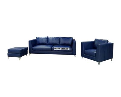 Ảnh của Bộ sofa bọc da màu xanh đẹp cho phòng khách hiện đại